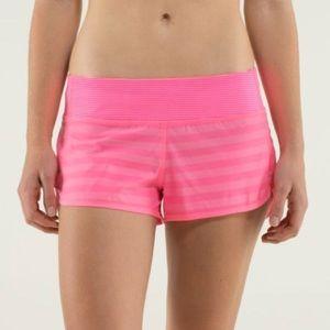 Lululemon Speed Shorts- Pink Stripes